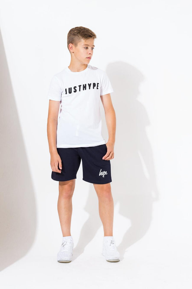 HYPE NAVY SCRIPT KIDS SHORTS