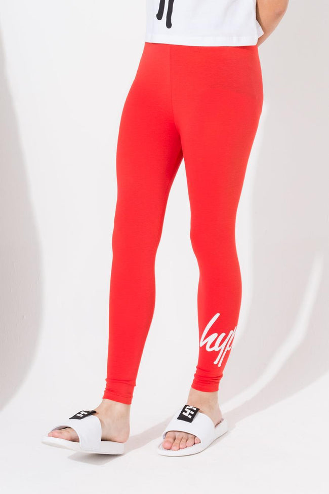 HYPE RED SCRIPT KIDS LEGGINGS