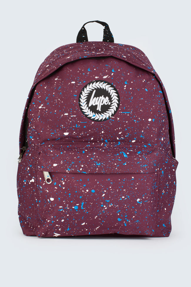 HYPE BURGUNDY WITH BLUE & WHITE SPECKLE BACKPACK