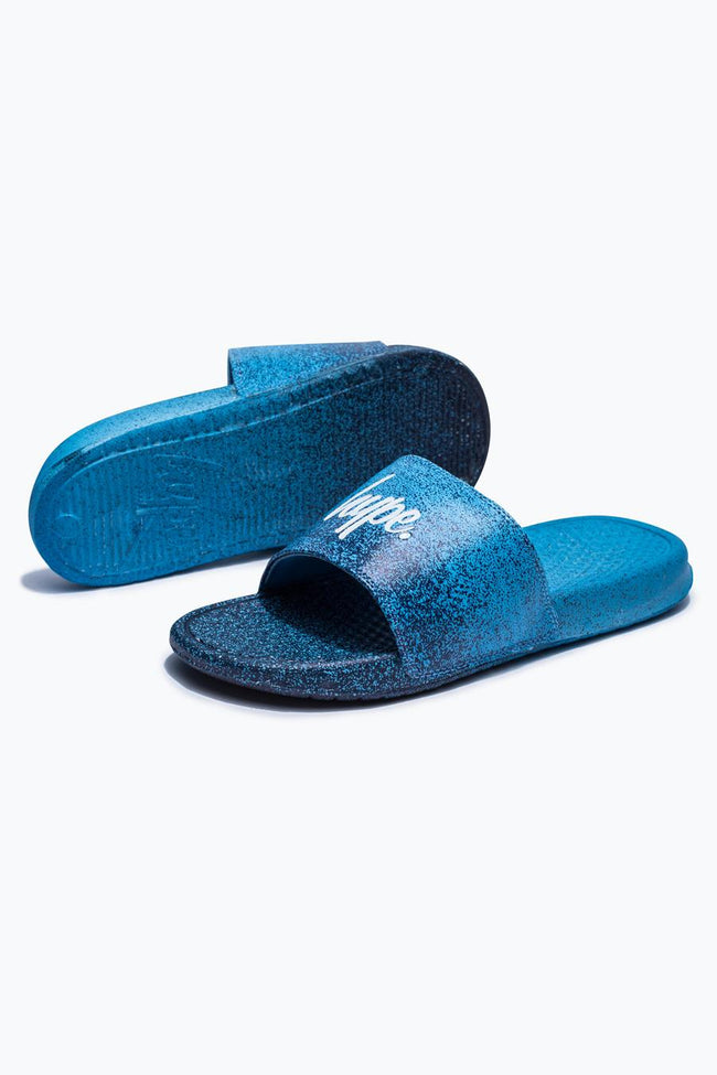 HYPE NAVY SPECKLE FADE SLIDERS