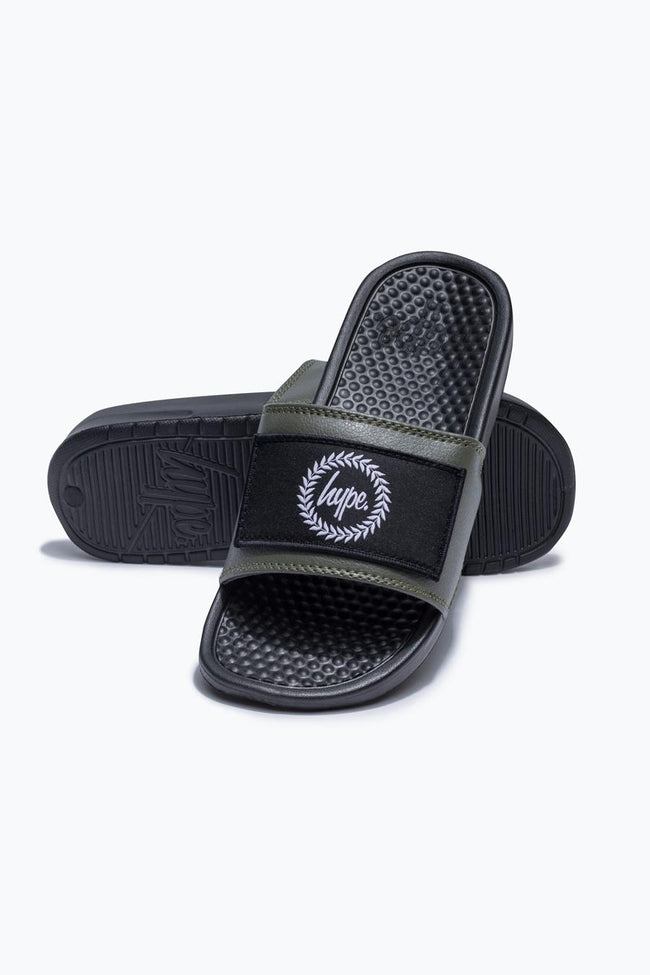 HYPE KHAKI INSIGNIA KIDS SLIDERS