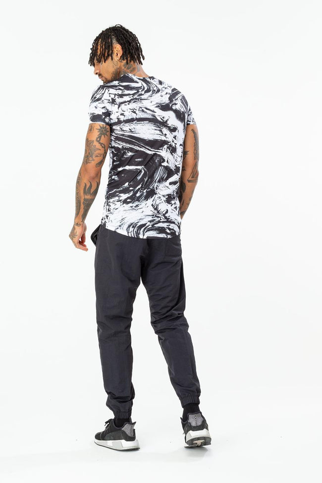 HYPE BLACK MONO TEXTURE MENS T-SHIRT