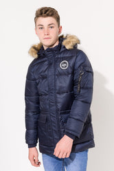Kids Navy Puffa Jacket & Midnight Rose T-Shirt Combo