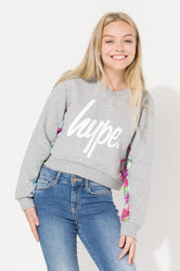 HYPE GREY FLORAL PANEL KIDS CROP CREW NECK