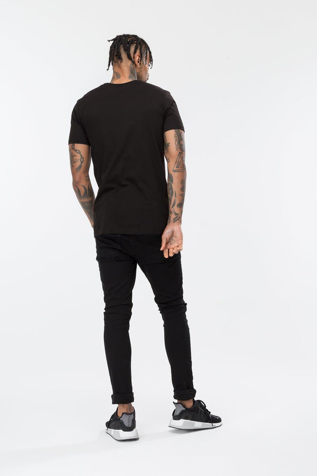 HYPE BLACK EMBROIDERED RAINBOW MEN'S T-SHIRT