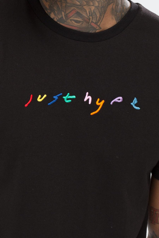 HYPE BLACK EMBROIDERED RAINBOW MENS T-SHIRT