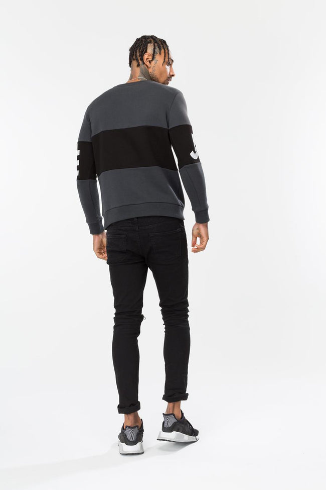 HYPE GREY JUSTHYPE PANEL MEN'S CREWNECK