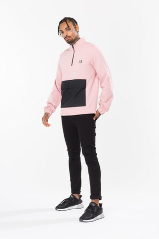 HYPE PINK STASH MENS ZIP CREW NECK