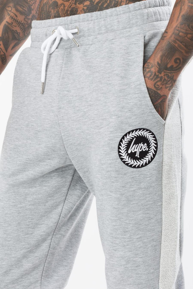 HYPE GREY LOOPBACK CREST MENS JOGGERS