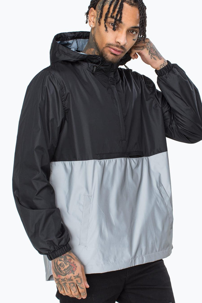 HYPE BLACK INSIGNIA REFLECTIVE MENS PULLOVER JACKET