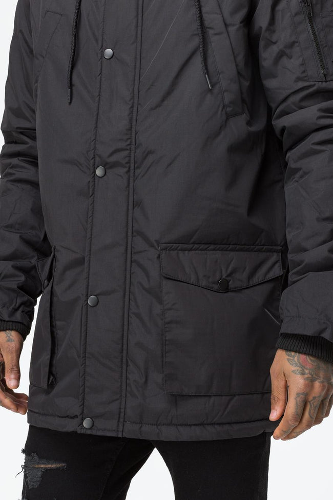 HYPE BLACK TRACK MASTER MENS PARKA JACKET