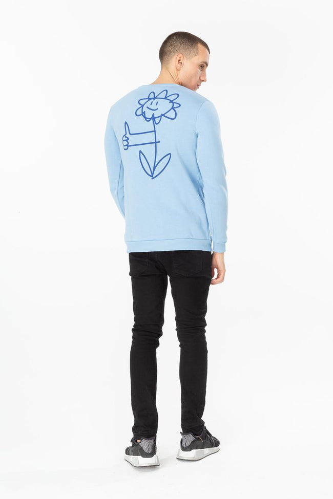 HYPE BLUE HAND FLOWER MENS CREW NECK