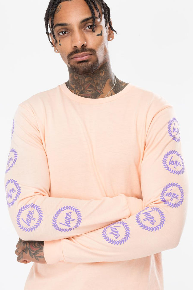 HYPE PEACH CREST SLEEVE MENS L/S T-SHIRT