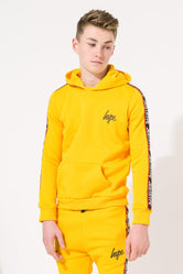HYPE YELLOW TAPED KIDS PULLOVER HOODIE