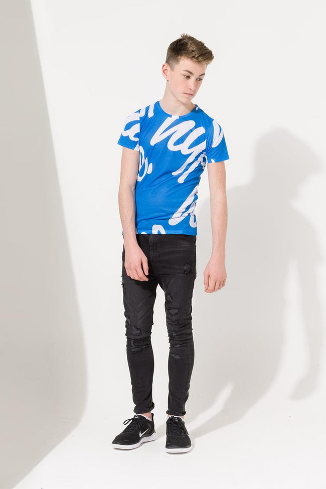 HYPE BLUE REPEAR SCRIPT KIDS T-SHIRT