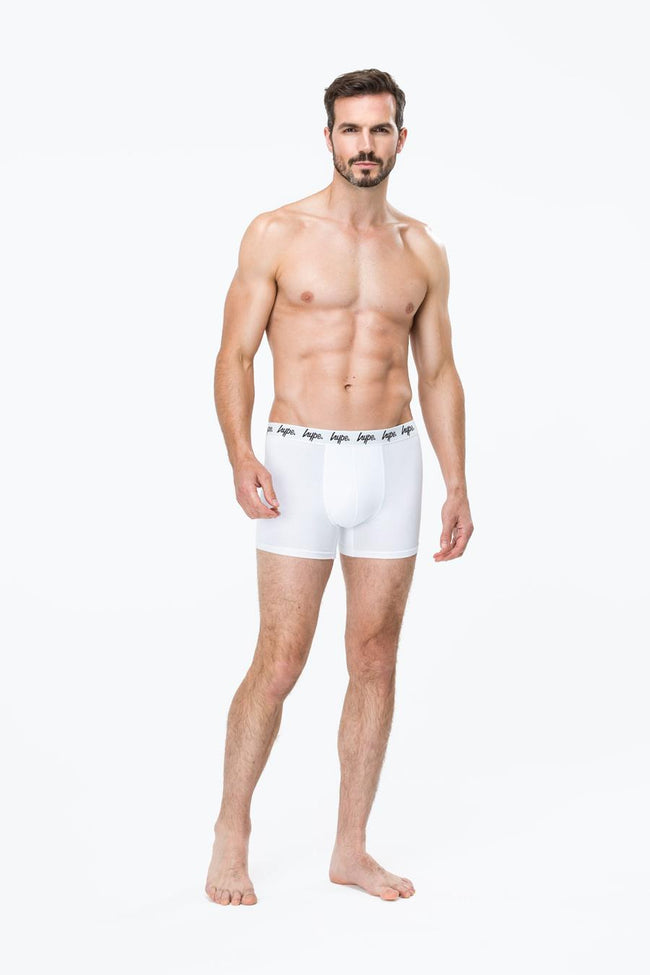 HYPE WHITE MENS BOXER SHORTS X3 PACK