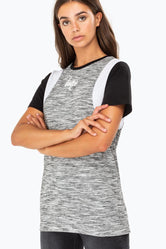 HYPE GREY SPACE PANEL WOMENS T-SHIRT