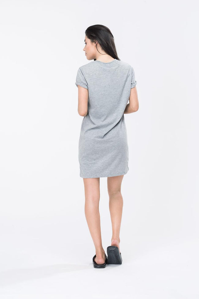 HYPE GREY SCRIPT WOMENS T-SHIRT DRESS