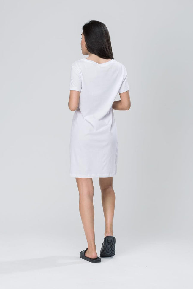 HYPE WHITE SCRIPT WOMEN'S T-SHIRT DRESS
