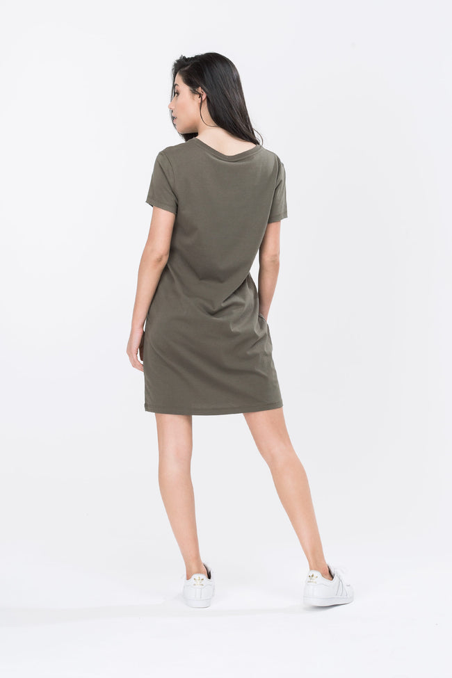 HYPE KHAKI SCRIPT WOMENS T-SHIRT DRESS