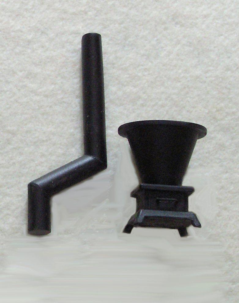 D&RG wood stove with offset smoke stack