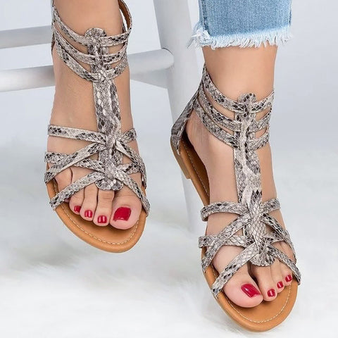 Women's Gladiator Sandals Summer shoes Fashion Snake Zip Flat Sandales