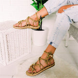 Gladiator Sandals Women 2019 Summer Cross Tied Lace Up Flat Sandals