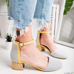 Round Toe Dot Shoes Casual  Strap Rome Shoes Low Heel Sandals Shoes