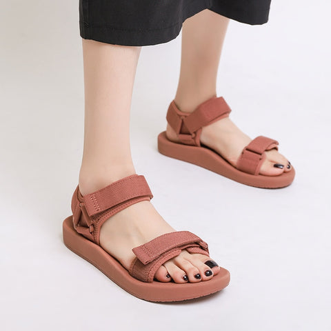 Women Shoes Flat Sandals Gladiator Open Toe Buckle Soft Jelly