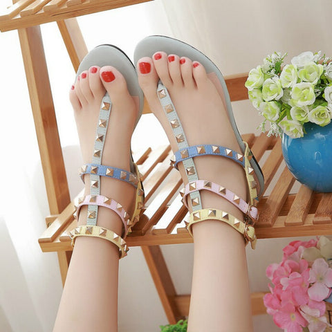 Dropshipping Women Colorful Shoes with Buckle Flat Sandals Rivets Summer
