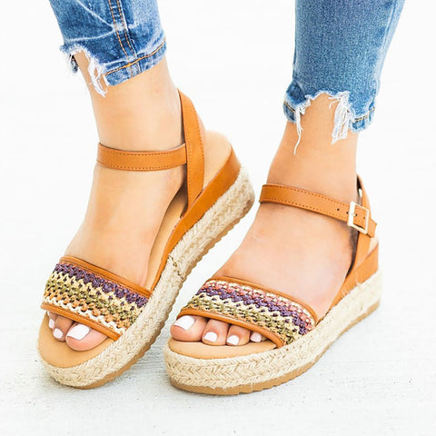 Women shoes 2019 leather wedges shoes Summer women sandals