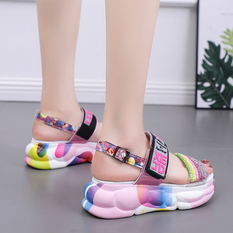 Supper Hot Sport Sandals Women Colorful Rhinestone Platform Sandals
