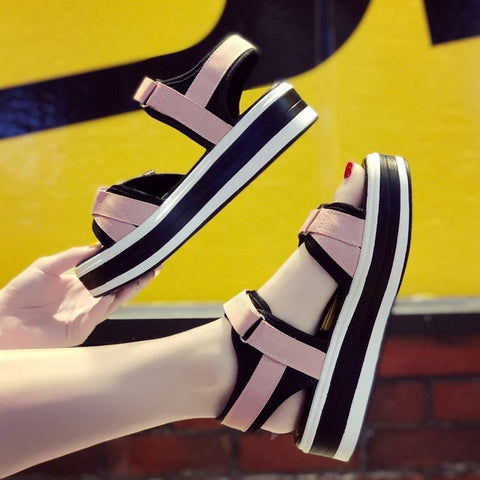 2019 summer women's shoes platform shoes women's platform sandals magic stickers