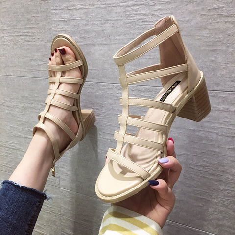 2019 feminina shoes Square with Roman hollow sandals high