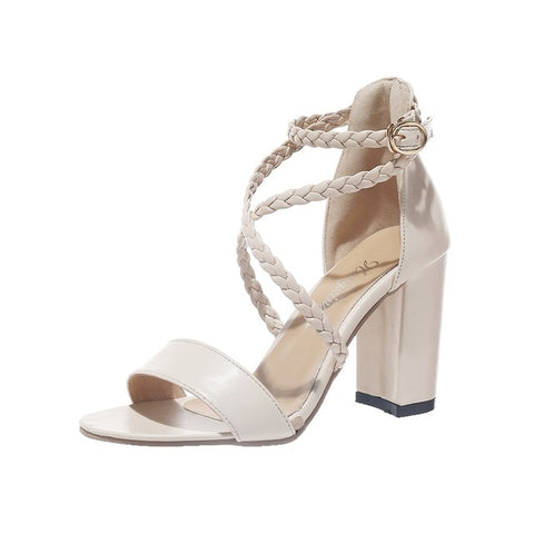 Women's summer sandals Open Toe Buckle Thick High Heel