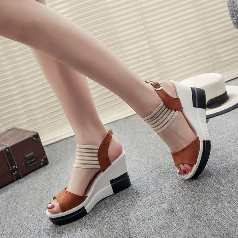 Wedge women Shoes Casual Belt Buckle High Heel Shoes Fish Mouth Sandals