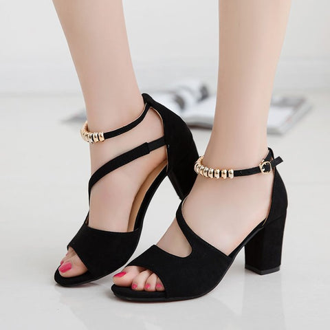 Roman Women sandals thick Heel with beaded high heels female summer Sexy