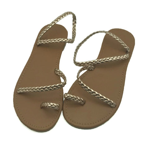 Women Flip Flops Weaving Casual Beach Flat  Female Sandal Low Heels Shoes