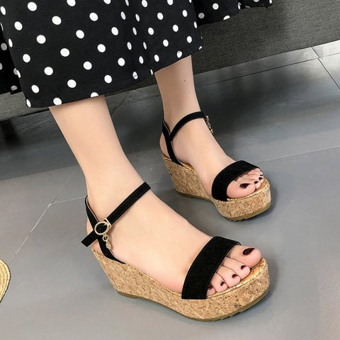 Fashion Designer Women Sandal Shoes Woman Peep Toe female cork