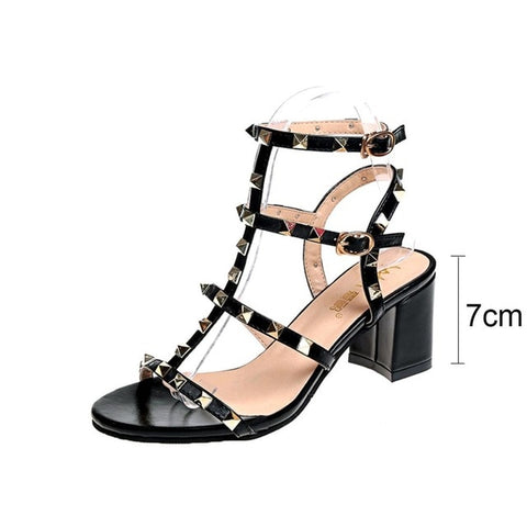 sandals women Open Toe Thick Sandals Buckle Studs Sandals Women's Heel Shoes