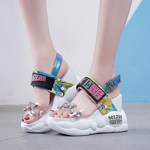 sandals women summer fashion transparent super high heels wedges sandalias