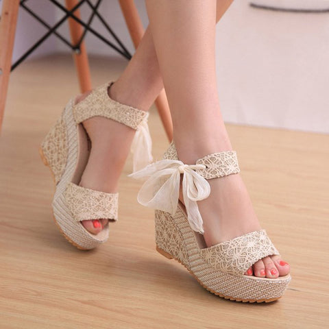 woman sandals wedges sandals platform roman lace up Summer Slope Sandal