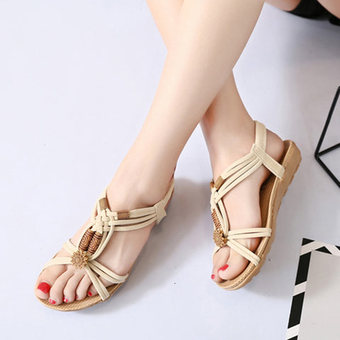 Ladies Summer Fashion Casual Bohemian  Beads Sandals