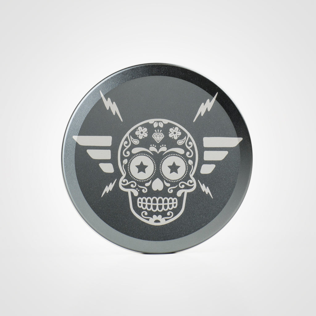Icetool Slim Can for portion snus and nicotine pouches. Titan color anodised aluminum with Sugar Skull graphics.