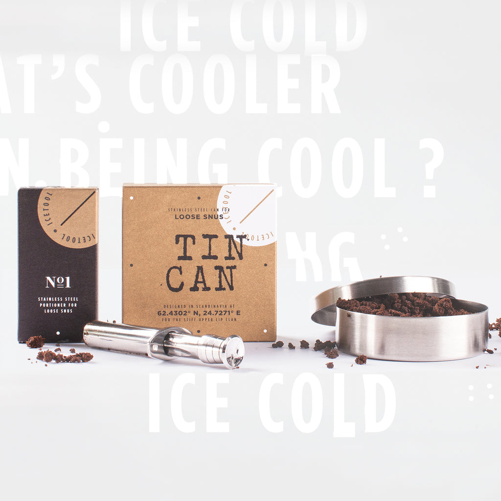 Icetool Tin can and Icetool portioner combo on a white background. Made of polished stainless steel.
