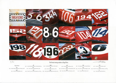 Ferrari Winning numbers at Targa Florio-  Fine art print by Enzo Naso