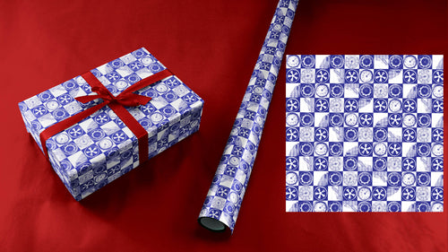 Porsche Lovers Wrapping Paper in Blue and White