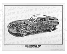 Authentic Alfa Romeo TZ1 cutaway drawing print by renowned automotive artist Shin Yoshikawa