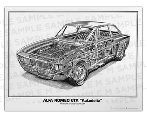 "Authentic Alfa Romeo GTA ""Autodelta"" cutaway drawing print by renowned automotive artist Shin Yoshikawa"
