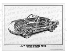 Authentic Alfa Romeo Duetto 1600 Cutaway Drawing Print by renowned automotive artist Shin Yoshikawa